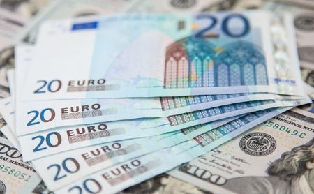 dollaro: Denaro sfondo - euro e dollari di valuta