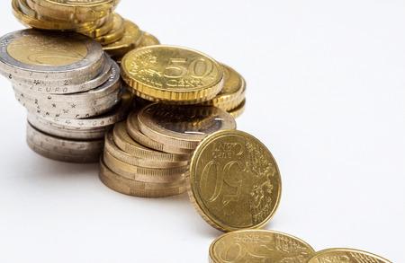 monetary devaluation: Concept of a depreciation euro, macor shot