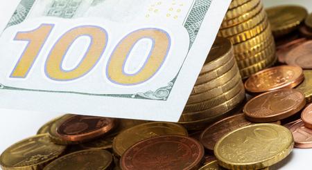 Dollad predominates over euro - macro shot Stock Photo