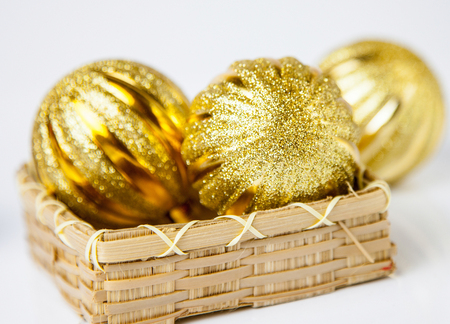 festal: Christmas-tree decorations on white background
