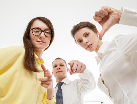 censure: Group of business people, white background