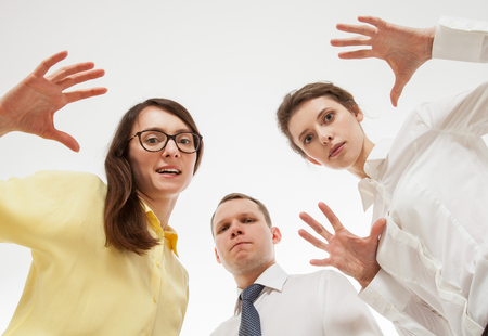 sneer: Group of business people, white background