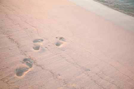 footsteps: Fresh footsteps on the empty sandy beach
