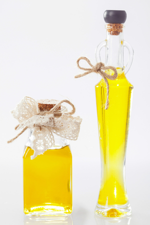 haircare: Two bottles with natural oil - concept of skincare and haircare Stock Photo