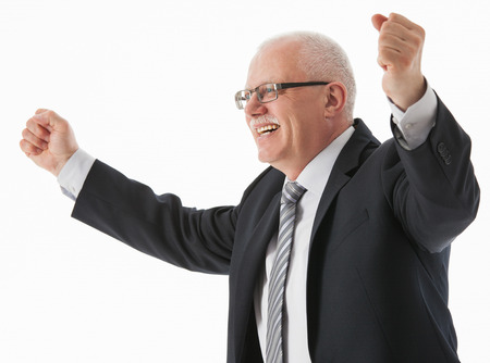Portrait of a delighted mature businessman, white background photo