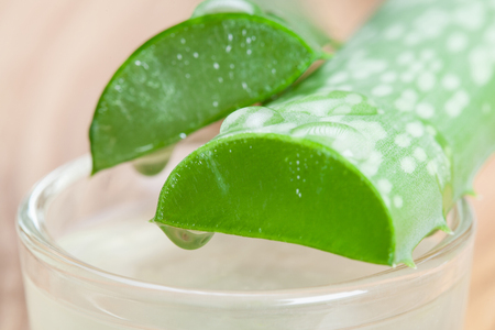 haircare: Process of receiving pure aloe gel for organic skincare and haircare