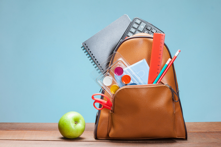 clerical: School bag with clerical set Stock Photo