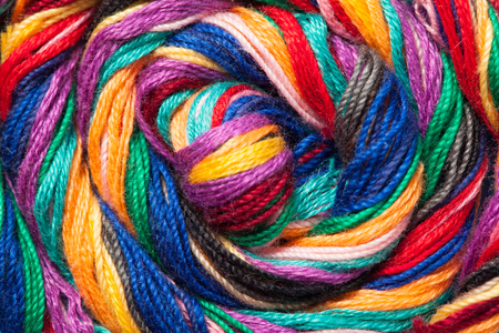 Twisted muline threads of different colors Stock Photo