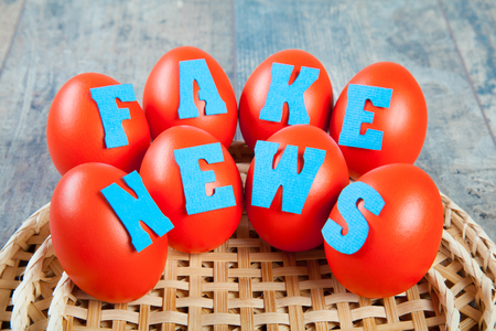 Birth of the fake news: eggs with fake news words on wooden background
