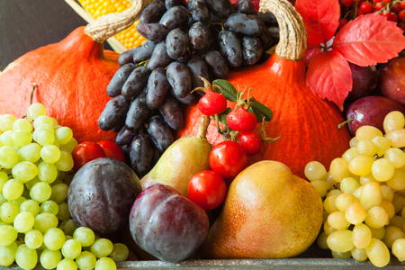 Generous gifts of the fall: plenty of fresh fruits and vegetables Stock fotó