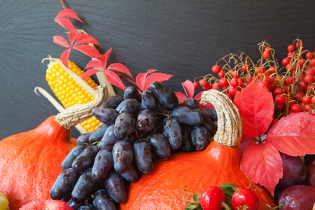 Composition of fresh raw fruits and vegetables on slate board background