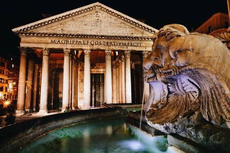 Picturesque photo of Pantheon at night with the elements of the fountain in the foreground, Rome, Italy
