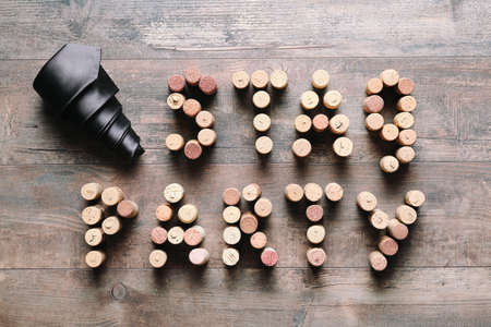 Words STAG PARTY made from corks