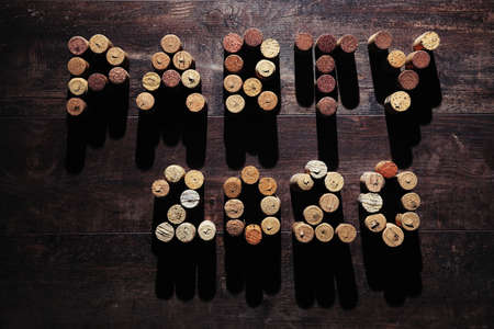 Word PARTY 2020 made from corks