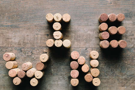 Word WINE made from corks