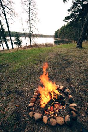 Bright campfire in the nature