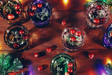 Christmas flat lay background with candles Foto de archivo