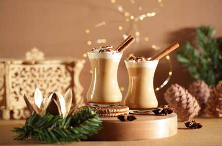 Christmas time: moody still-life with coffee drink
