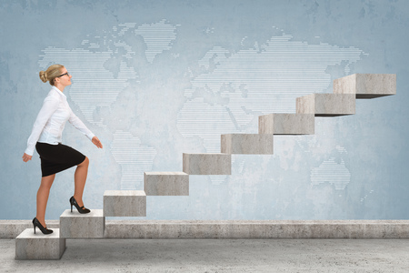 stepping: Business person stepping up a staircase. business concept Stock Photo