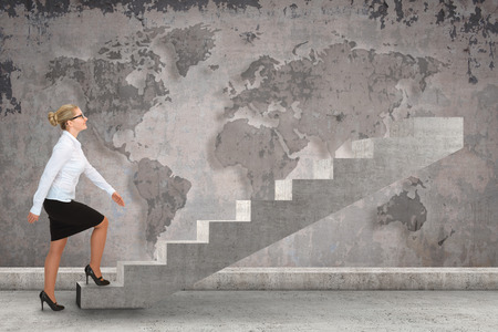 stepping on: Business person stepping up a staircase. business concept Stock Photo