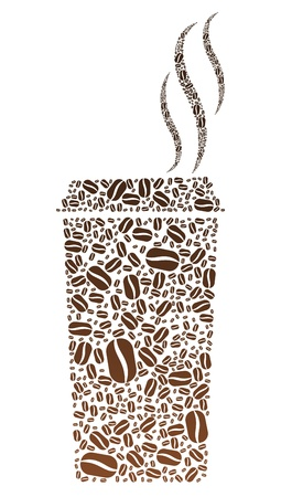 coffee beans: Coffee Bean Portable Cup Illustration