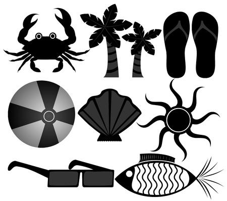 sandal tree: Iconos de Verano Vectores
