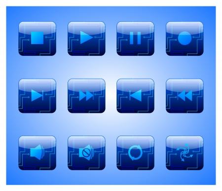 電気青エンターテイメント ボタン  イラスト・ベクター素材