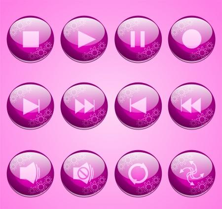 花ピンク エンターテイメント ボタン