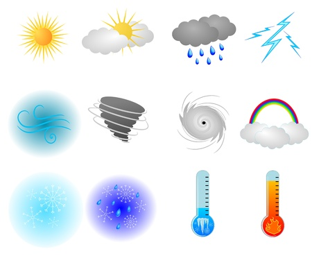 Colorful Weather Icons Vector Pack Ilustrace