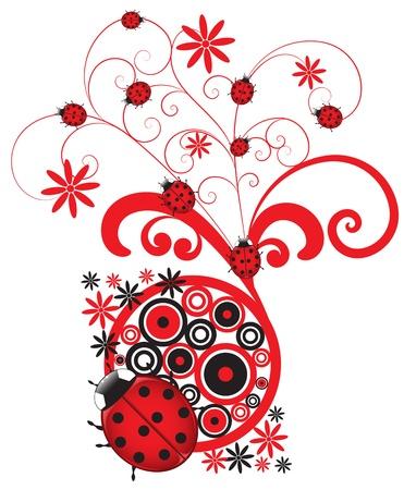 Ladybug Flourish Decor Stock Vector - 120066338