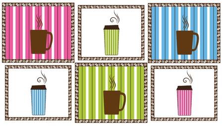 pinstripe: Pinstripe Coffee Tiles Illustration