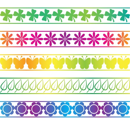 green leaves border: Colorful Spring Borders Illustration