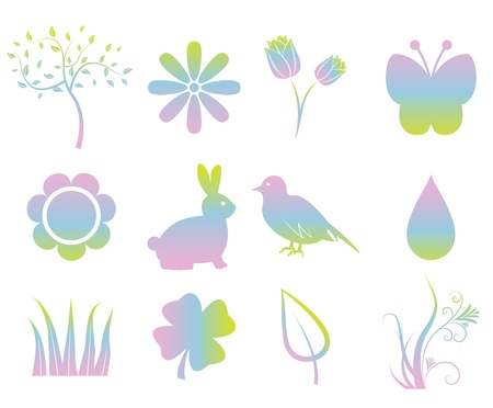 Colorful Spring Elements Vector