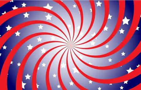 navy blue background: Patriotic Spiral Illustration