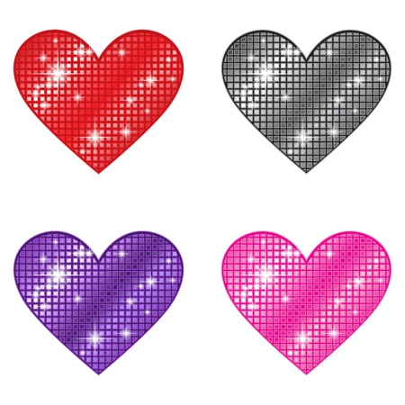 red glittery: Glittering Hearts