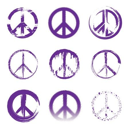 simbolo della pace: Grunge segni di pace Vettoriali
