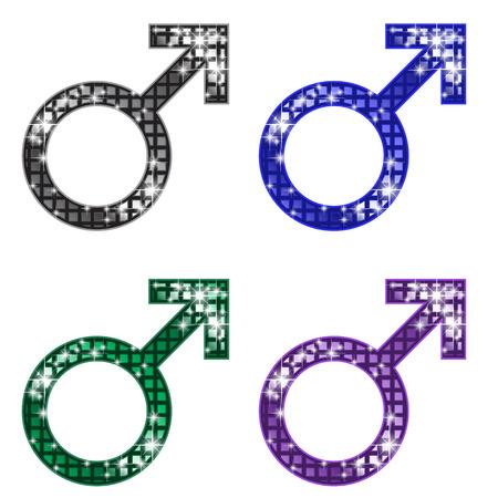 male symbol: Glittering Male Symbol