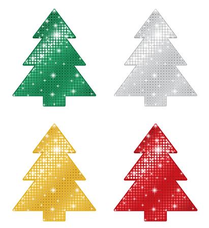 Glittering Pine Tree Shapes Ilustrace