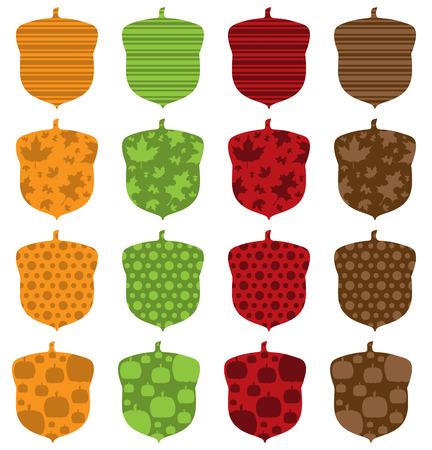 filled: Pattern Filled Acorns Illustration