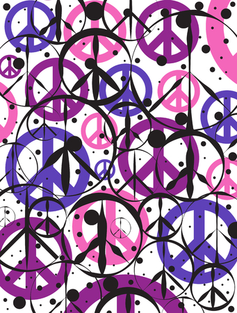 Peace Signs and Outlines Abstract Background