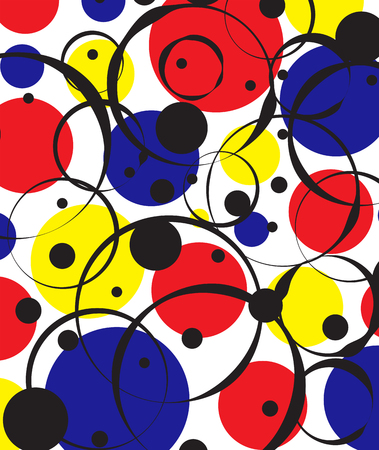 Colorful Circles and Outlines Background 向量圖像