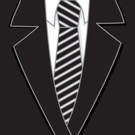 Striped Black Tie Collar Suit Ilustrace