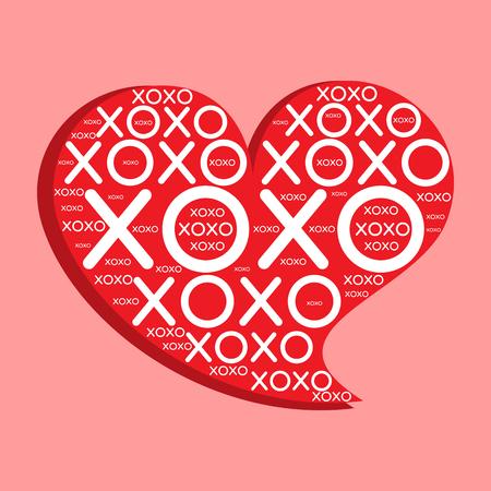 Decorative XOXO Heart Ilustrace