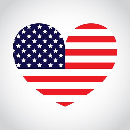 American Flag Heart Ilustrace