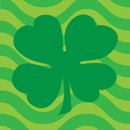 Clover Over Wavy Green Background
