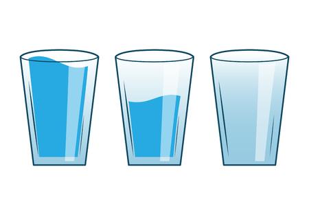 Vasos de agua medio vacíos llenos Ilustración de vector
