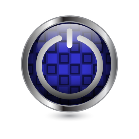 Glossy Circular Blue ON Button Ilustrace
