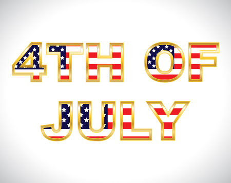 4th Of July Flag Text Art Ilustrace