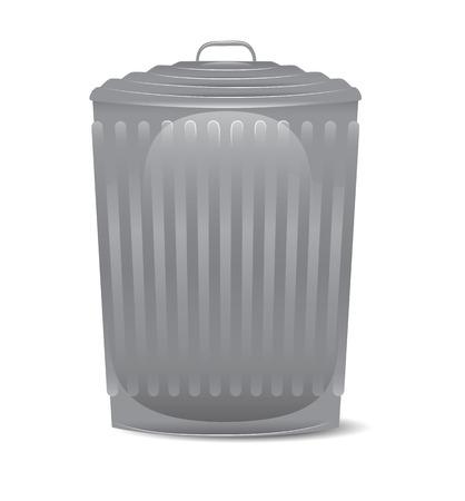 Isolated Metallic Trash Can Ilustrace