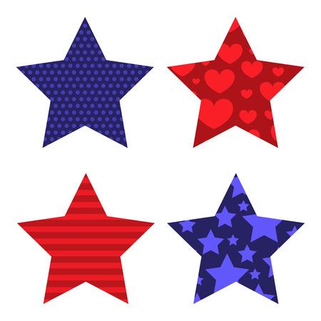 Patriotic Pattern Filled Stars Ilustrace